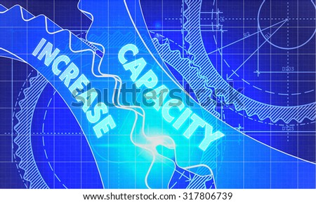 Capacity Increase on Blueprint of Cogs. Technical Drawing Style. 3d illustration with Glow Effect. - stock photo