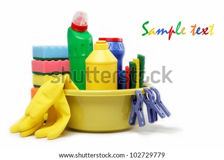 Capacity with cleaning supplies isolated on white background.