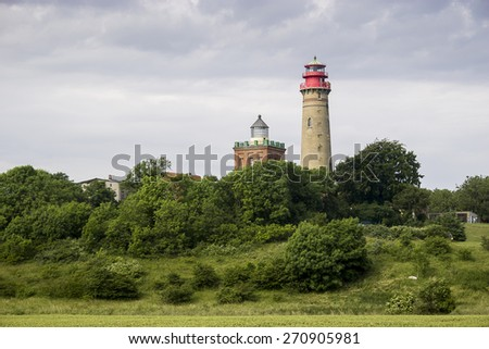 Cape Arkona Lighthouse in Rugen island - stock photo