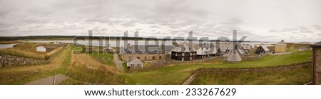 Cape Breton, Fortress of Louisbourg National Historic Site Panorama - stock photo