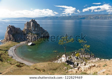 cape Burkhan in Olkhon island, lake Baikal, Siberia, Russia - stock photo