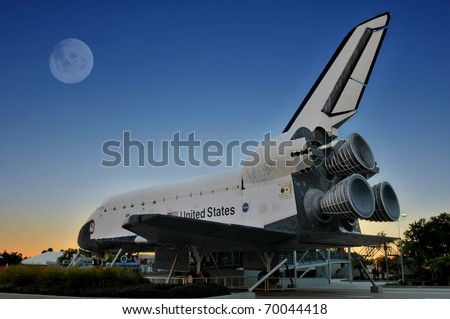 CAPE CANAVERAL, FL- DEC 28: The Space Shuttle Explorer displayed at NASA, Kennedy Space Center in Florida on December 28, 2010. - stock photo