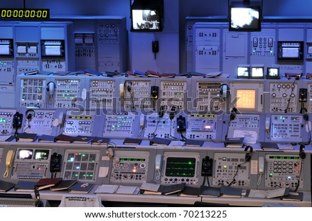 CAPE CANAVERAL, FL- JANUARY 2: The NASA's Control Station displaying control panels, countdown clocks and communication devices at Kennedy Space Center in Florida USA on January 2, 2011.