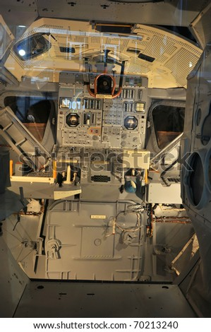 CAPE CANAVERAL, FL- JANUARY 2: The NASA's Space Shuttle Cockpit displayed at Kennedy Space Center in Cape Canaveral, Florida USA on January 2, 2011. - stock photo