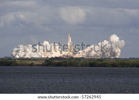 CAPE CANAVERAL, FL - NOV. 16: NASA Space Shuttle Atlantis during initial stages of liftoff on Nov. 16, 2009 in Cape Canaveral, Florida. - stock photo