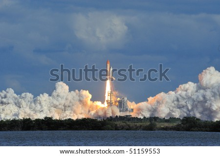 CAPE CANAVERAL, FL - NOVEMBER 16: Space Shuttle Atlantis launches from the Kennedy Space Center November 16, 2009 in Cape Canaveral, FL. - stock photo