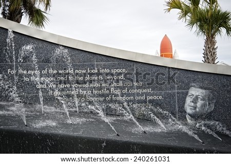 CAPE CANAVERAL, FLORIDA DECEMBER 5, 2014: John F. Kennedy sentence outside the Kennedy Space Center, the day the flight test Orion, considered the first step to deep space, was launched. - stock photo