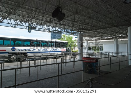 CAPE CANAVERAL, FLORIDA - JUNE 7, 2013: The Rocket Garden at Kennedy Space Center NASA.  Bus shuttle terminal, historical rockets from past explorations for every USA human space flight since 1968 - stock photo