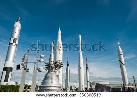 CAPE CANAVERAL, FLORIDA - JUNE 7, 2013: The Rocket Garden at Kennedy Space Center NASA.  Tourist attraction, rockets from explorations for every United States of America human space flight since 1968 - stock photo