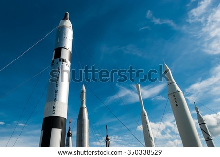 CAPE CANAVERAL, FLORIDA - JUNE 7, 2013: The Rocket Garden at Kennedy Space Center NASA.  Tourist attraction, historical rockets from explorations for every United States human space flight since 1968 - stock photo