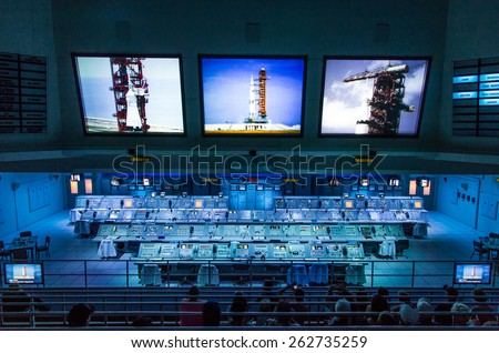 Cape Canaveral, Florida, USA - MARCH 20, 2015: NASA Kennedy Space Center Museum, real Apollo mission launch control center - stock photo