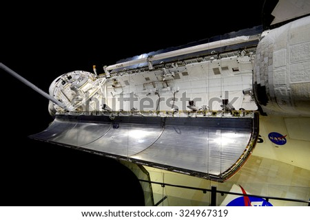 Cape Canaveral, Florida, USA - May 6, 2015: Space shuttle on display at Kennedy Space Center - stock photo
