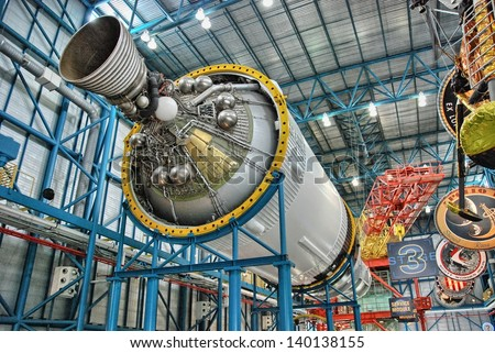 CAPE CANAVERAL - JAN 3: Interior of NASA Space Center, January 3, 2009 in Cape Canaveral. The center is the launch site for every United States human space flight since 1968 - stock photo