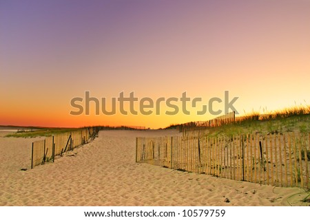 Cape Cod is an arm-shaped peninsula nearly coextensive with Barnstable County, Massachusetts and forming the easternmost portion of the state of Massachusetts, in the Northeastern United States. - stock photo