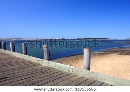 Cape Cod is an arm-shaped peninsula nearly coextensive with Barnstable County, Massachusetts[1] and forming the easternmost portion of the state of Massachusetts, in the Northeastern United States.   - stock photo