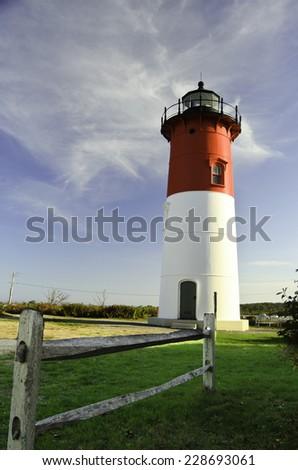 Cape Cod lighthouse Nauset - stock photo