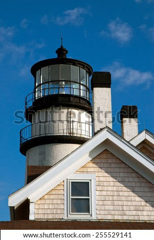 Cape Cod Lighthouse offers tours to the tower during the summertime season. - stock photo