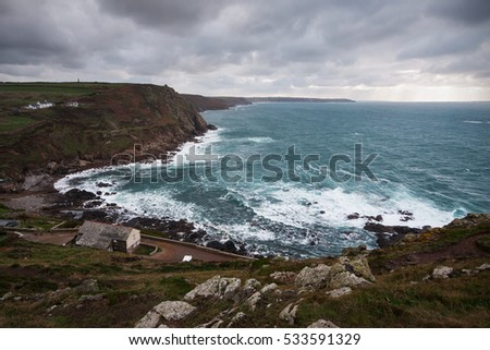 Cape Cornwall (South West England): dramatic landscape during a storm.