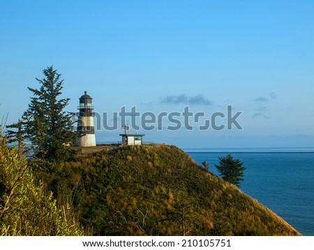 Cape Disappointment Lighthouse in Fort Canby State Park near Ilwaco Washington USA - stock photo