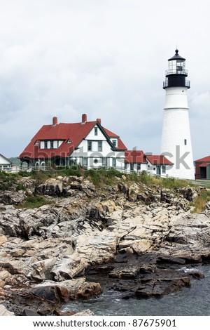 Cape Elizabeth Lighthouse before cloudy sky, New England, Portland, Maine - stock photo