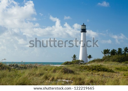 Cape Florida Lighthouse and Lantern in Bill Baggs State Park in Key Biscayne Florida