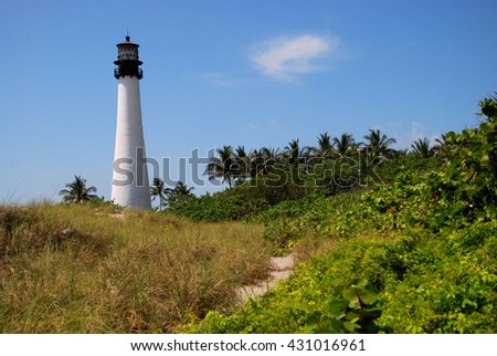 Cape Florida lighthouse at Key Biscayne Florida / Light Trail - stock photo