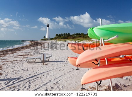 Cape Florida Lighthouse Bill Baggs State Park in Key Biscayne Florida with rental canoes kayaks - stock photo