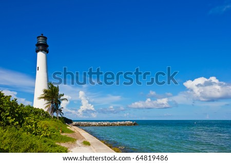 Cape Florida Lighthouse, Key Biscayne, Miami, Florida, USA - stock photo