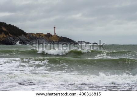 Cape Forchu lighthouse in Yarmouth, Nova Scotia, Canada. - stock photo