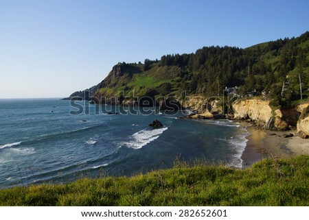 Cape Foulweather with condominiums, on the  Oregon Coast - stock photo