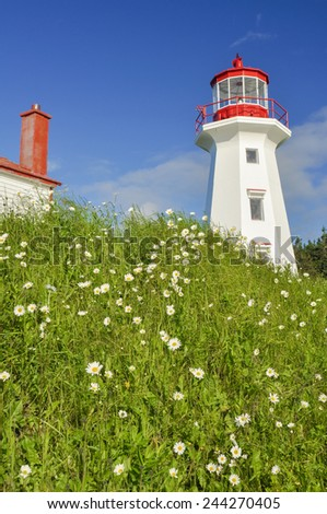 Cape Gaspe lighthouse, Quebec (Canada) - stock photo