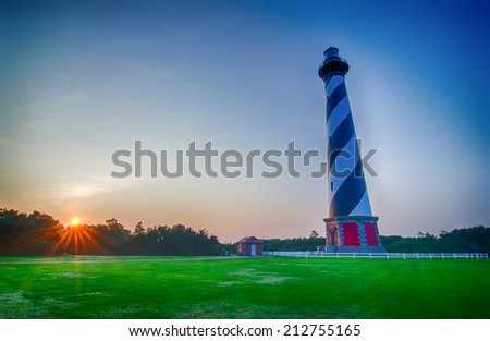 Cape Hatteras Lighthouse early morning on Outer banks, North Carolina - stock photo