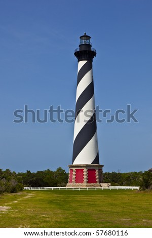Cape Hatteras Lighthouse in Buxton on Hatteras Island on the Outer Banks of North Carolina - stock photo