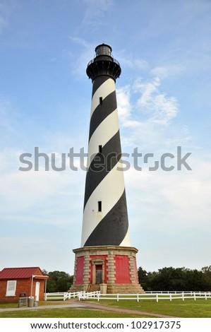 Cape Hatteras Lighthouse in Cape Hatteras National Seashore, on Hatteras Island, North Carolina, USA - stock photo