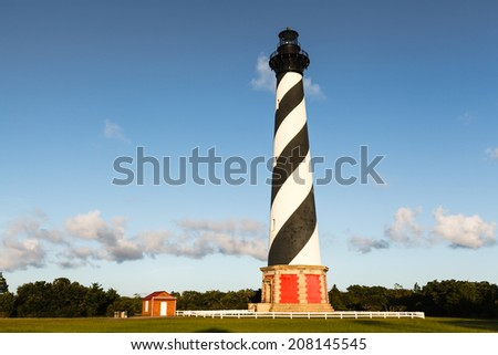 Cape Hatteras Lighthouse is an historic landmark on the Cape Hatteras National Seashore on the Outer Banks in North Carolina.