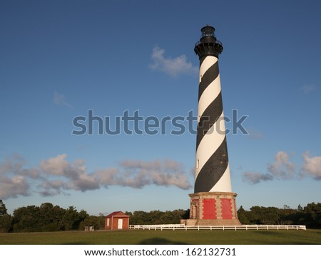 Cape Hatteras Lighthouse on the Outer Banks of the Cape Hatteras National Seashore in Buxton, North Carolina.