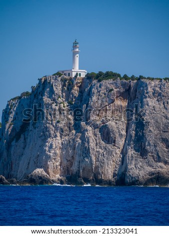 Cape lighthouse of Lefkas island in Greece - stock photo