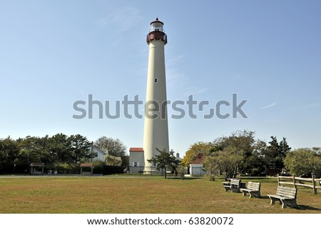 Cape May Lighthouse Horizontal in October with Three Benches - stock photo