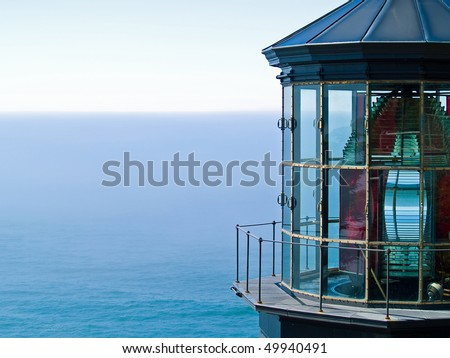 Cape Meares Lighthouse on the Oregon Coast on a Clear, Sunny Day - stock photo