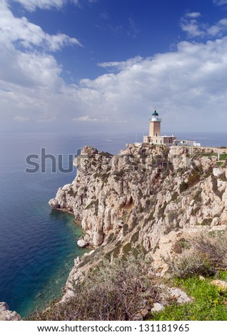 Cape Melagavi lighthouse, Corinthia, Greece