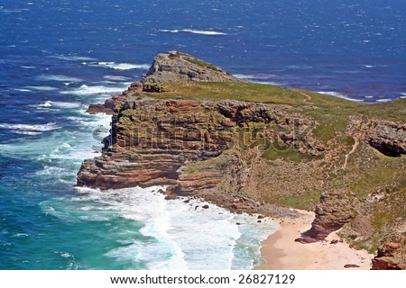 Cape of Good Hope (view from Cape Point to Cape of Good Hope), South Africa - stock photo