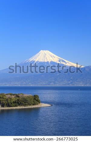 Cape Osezaki and Mt. Fuji seen from Nishiizu, Shizuoka, Japan - stock photo
