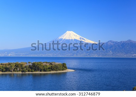 Cape Osezaki and Mt. Fuji seen from Nishiizu, Shizuoka, Japan - stock photo