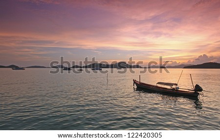 Cape Panwa sunset in Phuket Thailand Asia - stock photo