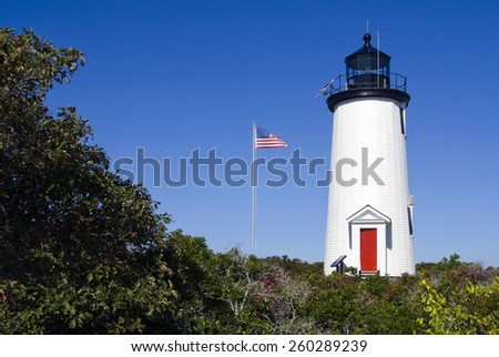 Cape Poge lighthouse is located on Chappaquiddick Island on the northeast point of the Cape Poge Wildlife Refuge, on Martha's Vineyard, Massachusetts..  - stock photo