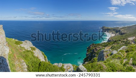 Cape Point, which is the most South Western Point of Africa. Located near the city of Cape Town, South Africa. Towering cliffs overlooking the ocean makes it a year round tourist hot spot