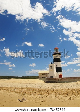 cape recife lighthouse built in 1851, south africa - stock photo