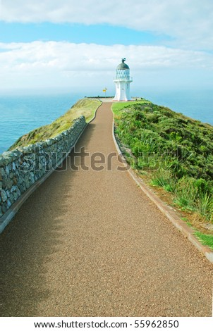 Cape Reigna lighthouse, New Zealand - stock photo