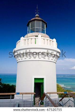 Cape San Juan lighthouse on north east corner of Puerto Rico near Cabo Rojo - stock photo