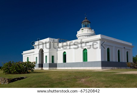 Cape San Juan lighthouse on north east corner of Puerto Rico near San Juan - stock photo